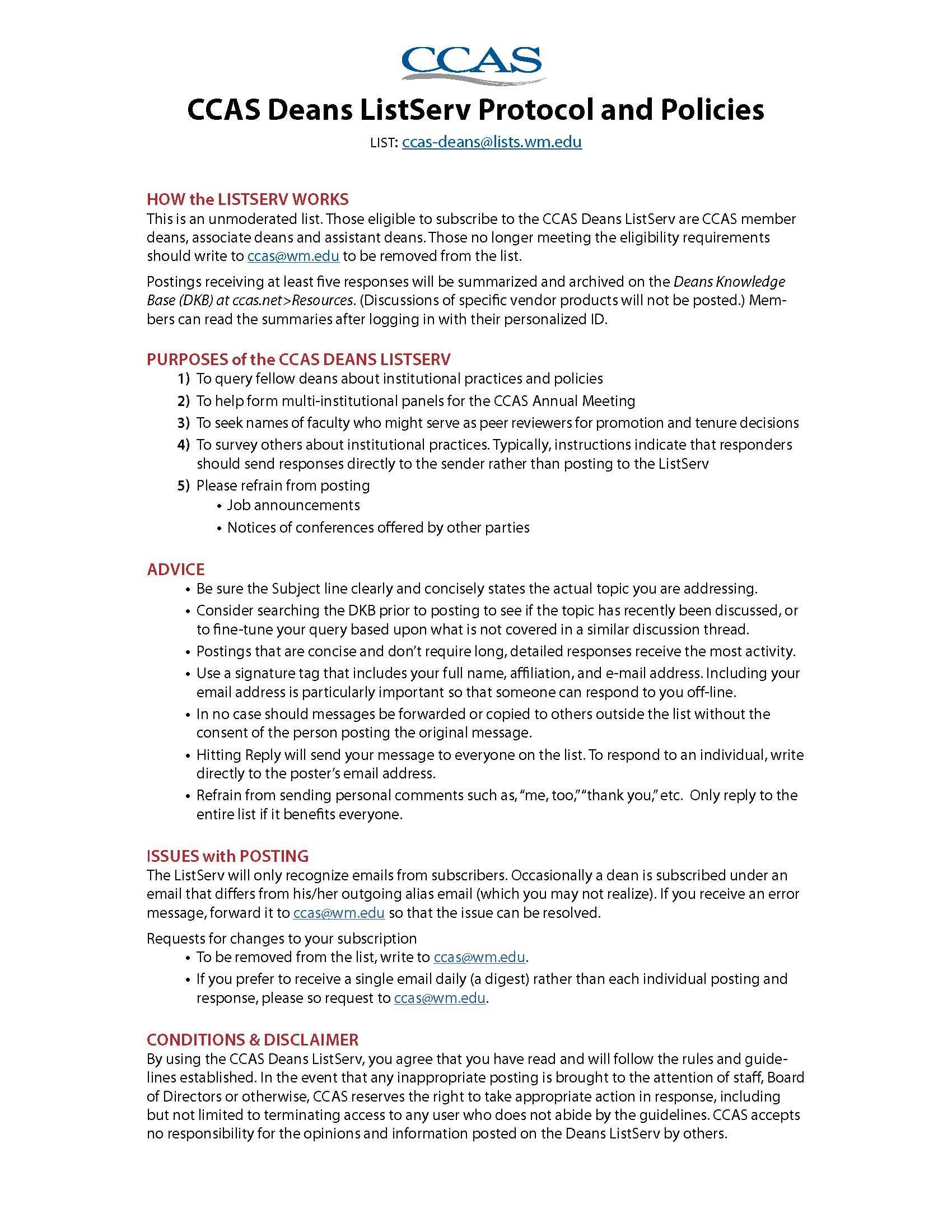 CCAS Deans ListServ Protocol & Policies - Council of Colleges of ...